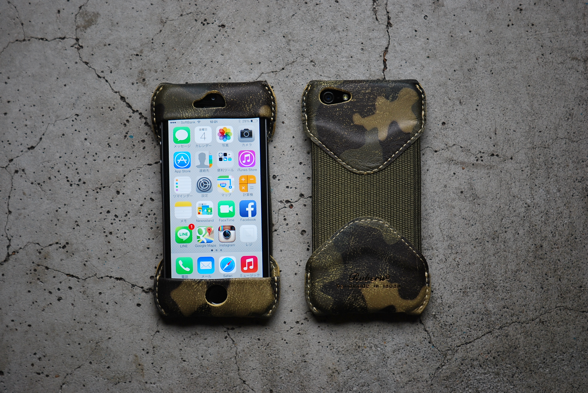 Roberu iPhone 5s Camouflage Leather Case