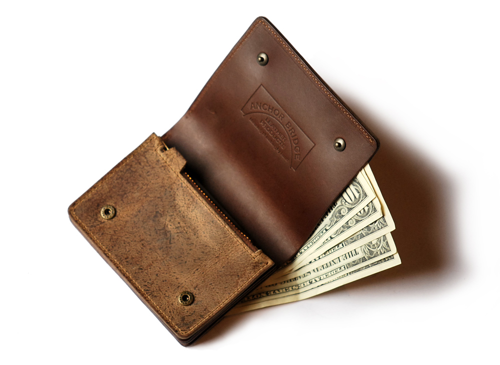 Anchor Bridge Half Leather Wallet