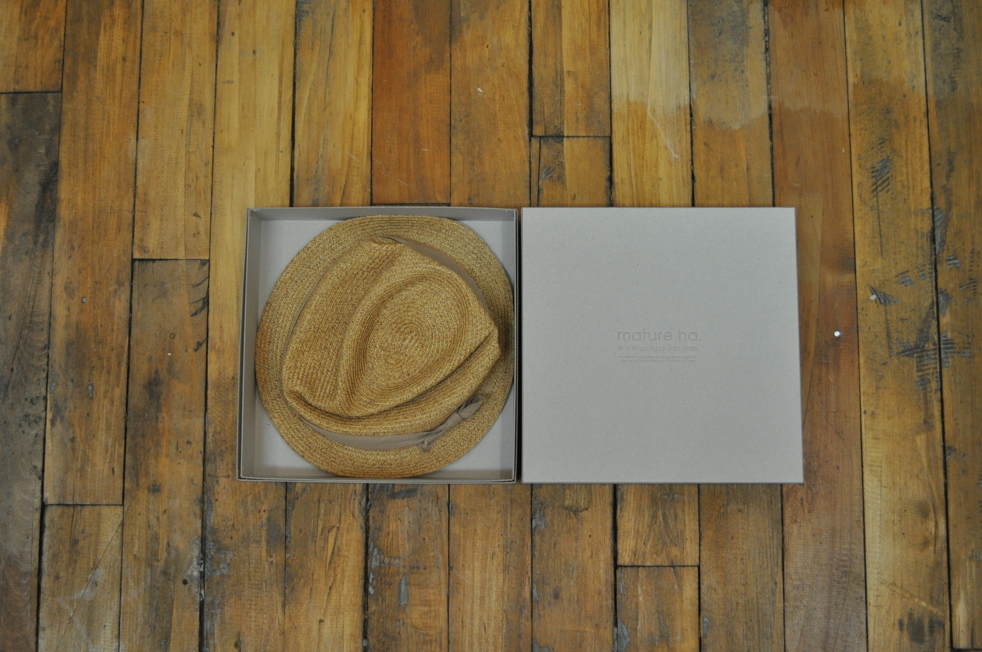 Mature ha. BOXED HAT 3cm brim cotton ribbon